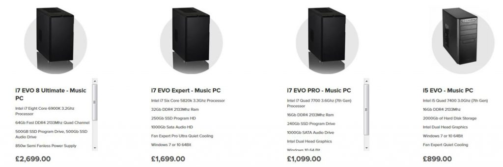 Our range of Music PC Systems Available at Inta Audio