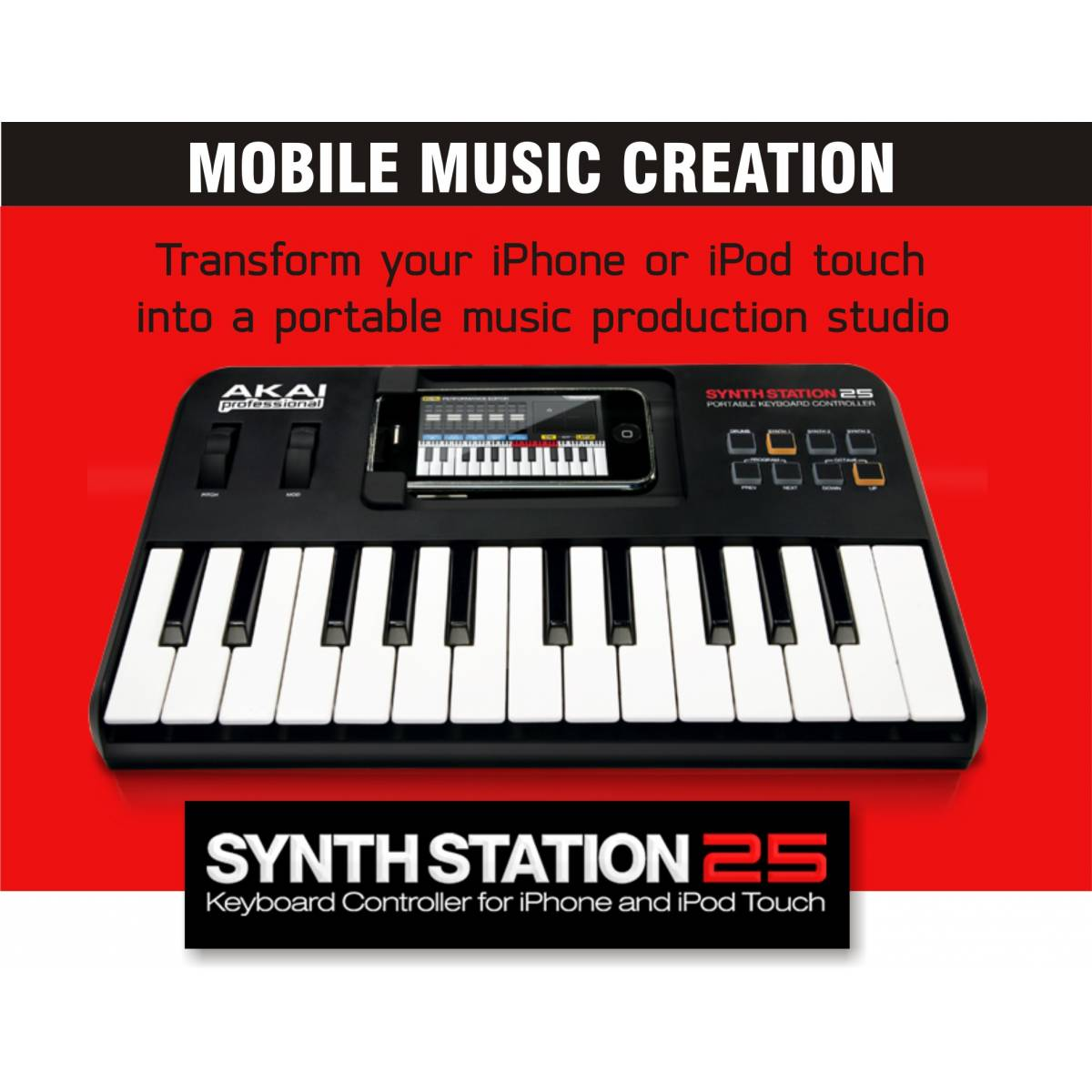 akai synthstation 25 keyboard for iphone and ipod touch 25 key midi keyboard from inta audio uk. Black Bedroom Furniture Sets. Home Design Ideas