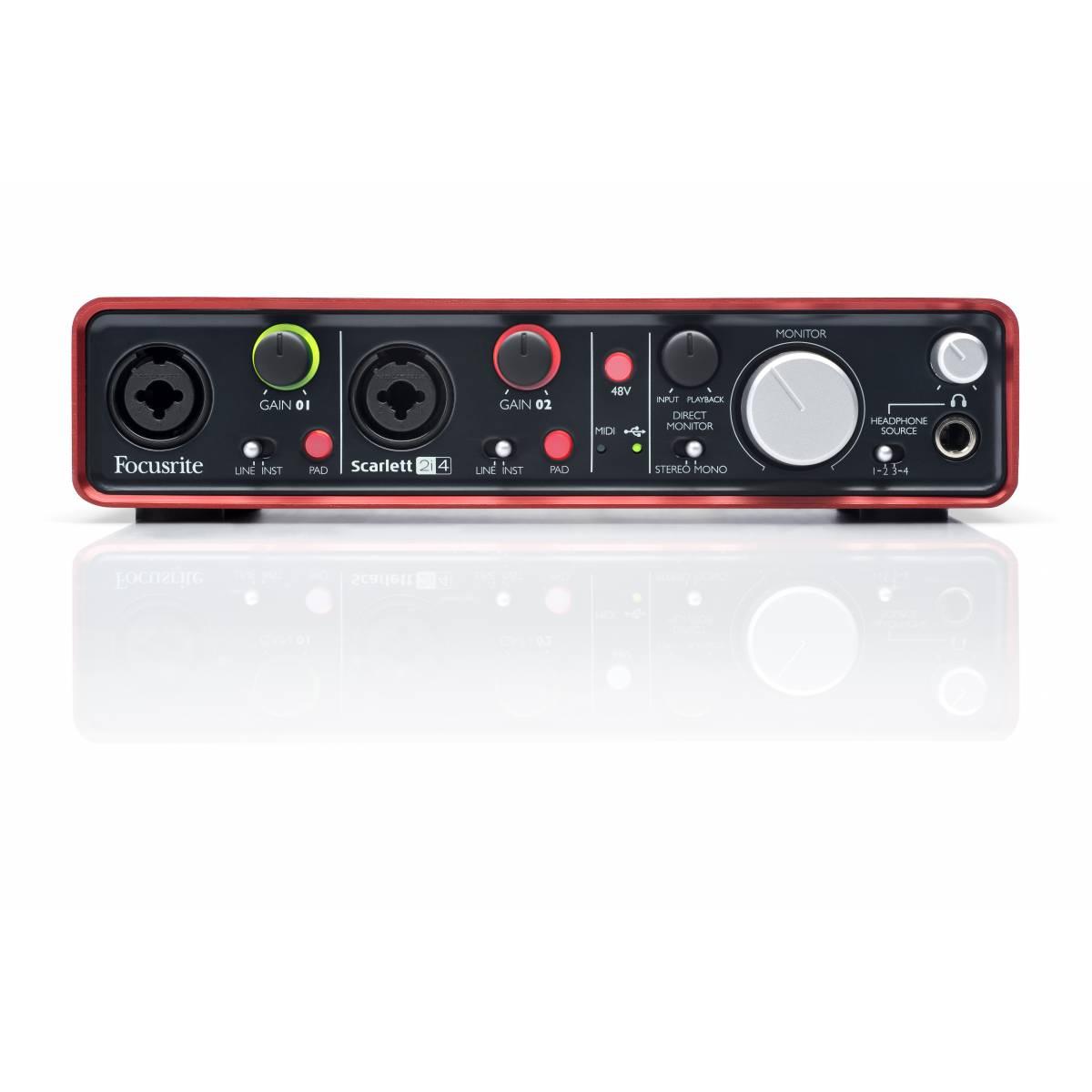 focusrite scarlett 2i4 usb audio interface   audio interfaces amp soundcards from inta audio uk