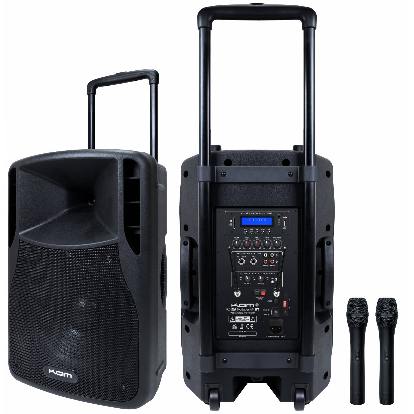 kam rz12a portable pa bt pa system with media player 250w complete pa system from inta audio uk. Black Bedroom Furniture Sets. Home Design Ideas