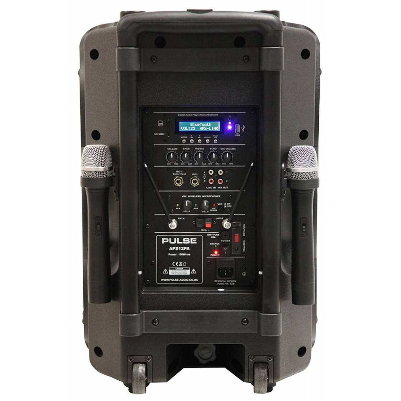 portable pa system mains or battery with 2 mics fm bluetooth ready complete pa system. Black Bedroom Furniture Sets. Home Design Ideas