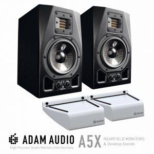 Adam A5X Studio Monitors with Free Desktop Monitor Stands