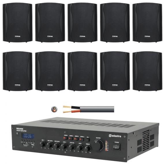 10 Speaker 4 Zone Background Music Sound System (Black)
