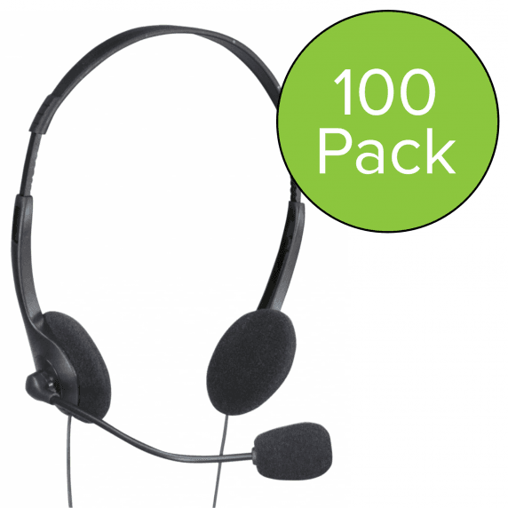 100 Pack of Computer Stereo Headphones with Microphone