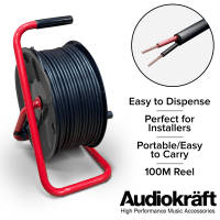 AudioKraft 100m 2-Core Indoor/Outdoor Speaker Cable Black Premium HiFi Wire + Free Cable Reel
