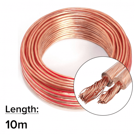10m 2x 2.5mm 14AWG Multi-Strand Loud Speaker Cable/Wire