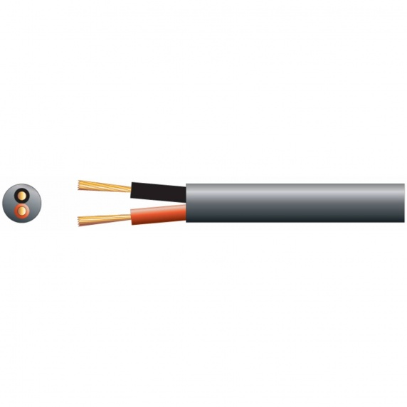 2-Core Double Insulated Speaker Cable, Black - 100m Drum