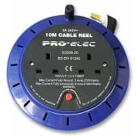 pro-ELEC 2 Gang 6m Twin Extension Power Reel - 5A Max