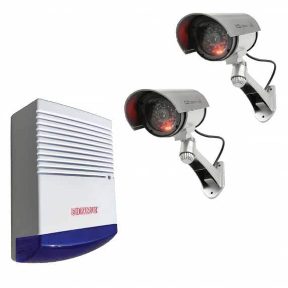2 x Dummy Solar Powered Infrared Bullet Security Cameras + Alarm Box (BUNDLE)