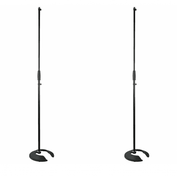 2 x Pulse Stackable Straight Microphone Stand with Heavy Base