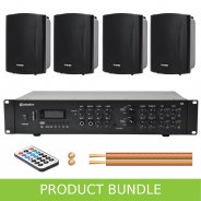 2-Zone Home/Office Music System with 4 Wall Speakers