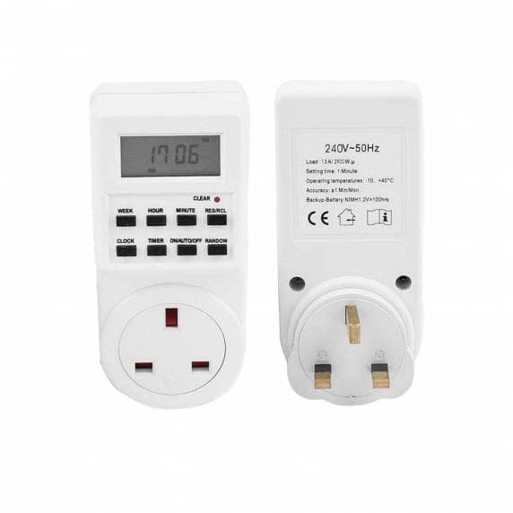 24-Hour 7 Day Digital Timer Power Socket Plug - for Lamps and Electronics