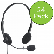 24 Pack of Computer Stereo Headphones with Microphone