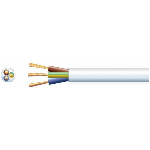 3-Core Electrical Flex Cable White, 0.75mm2, 6A (100m)