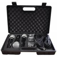 Soundlab 3-Pack Dynamic Vocal Microphone Kit with Leads and Carry Case