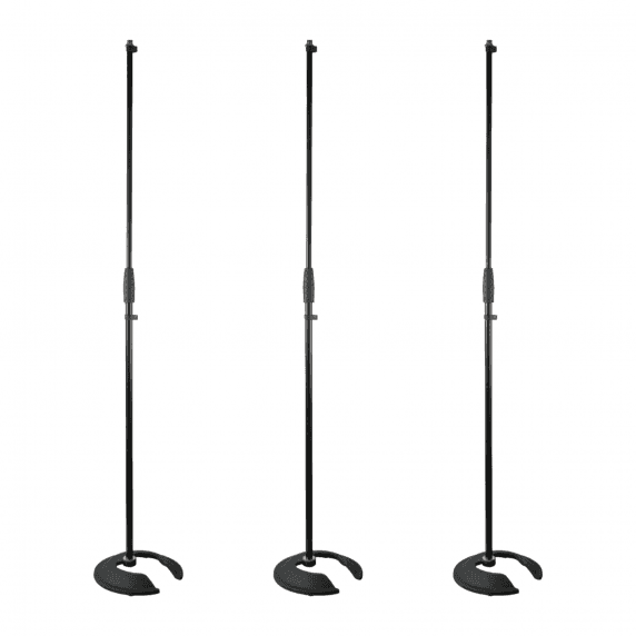 3 x Pulse Stackable Straight Microphone Stand with Heavy Base