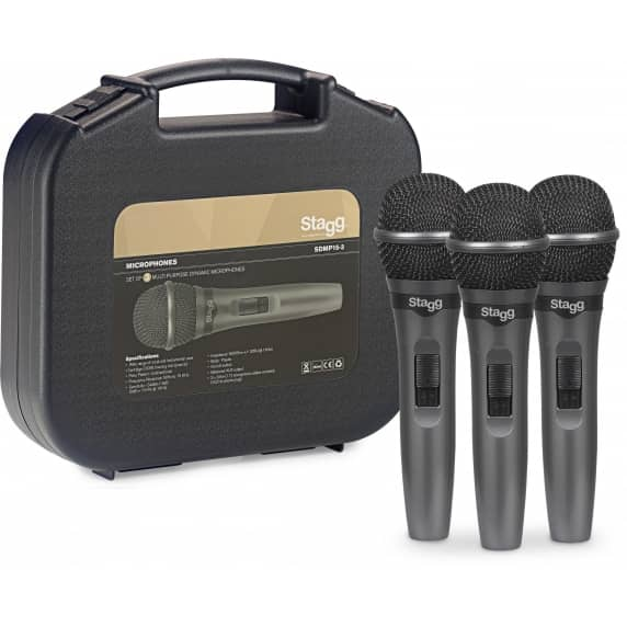3x Stagg SDMP15 Live Stage Dynamic Microphone Kit