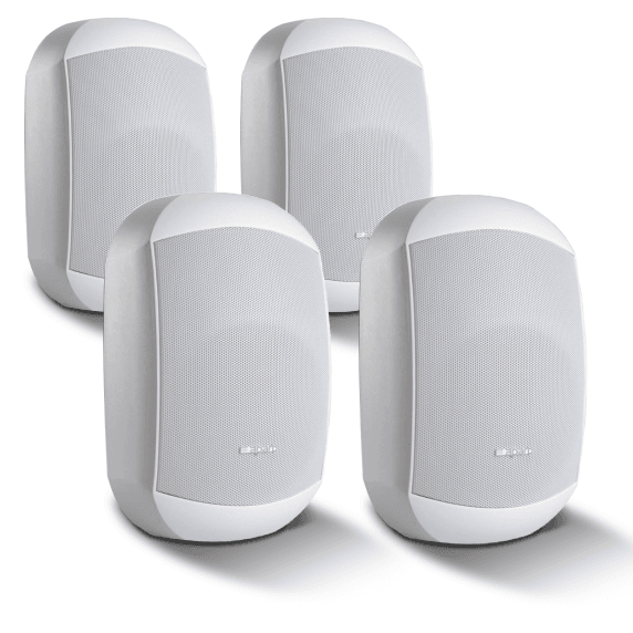 "4 Pack of Apart MASK6CT-W 6.5"" 100V/16Ohm Two-Way Loudspeakers, White"