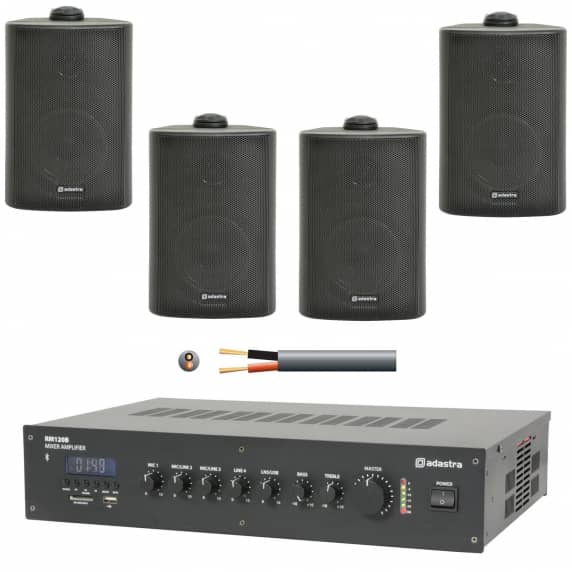 4 Speaker Background Music Sound System (Black)