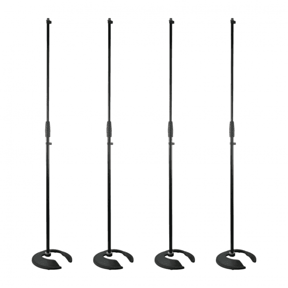 4 x Pulse Stackable Straight Microphone Stand with Heavy Base