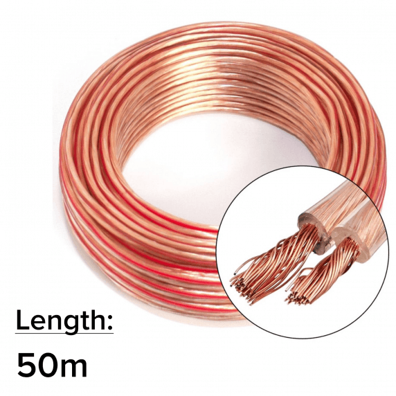 50m 2x 2.5mm 14AWG Multi-Strand Loud Speaker Cable/Wire