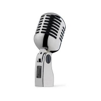 Pulse 50s Chrome Microphone Retro Style - (Vintage Mic Silver/Chrome Finish)