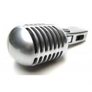50s Chrome Microphone Retro Style - (Vintage Mic Silver/Chrome Finish)
