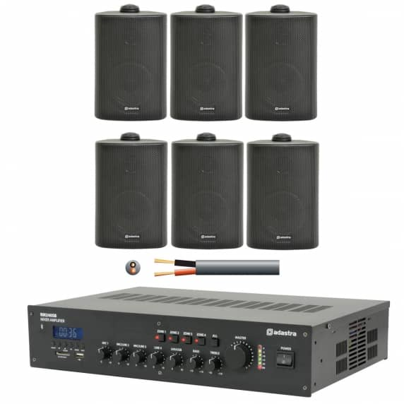 6 Speaker 4 Zone Background Music Sound System