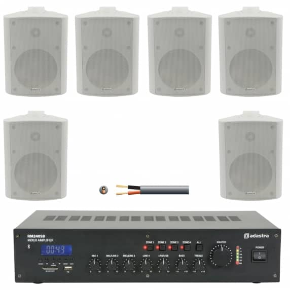 6 Speaker 4 Zone Background Music Sound System (White)