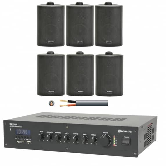 6 Speaker Background Music System for Restaurants, Offices and Shops