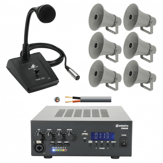 6 Speaker Outdoor PA System with Mic - 6 x Weatherproof Horn Speaker