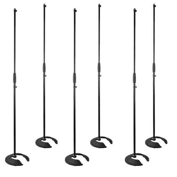 6 x Pulse Stackable Straight Microphone Stand with Heavy Base