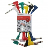 6x Patch Leads For Guitar Effects Pedals 0.15m Multi Coloured