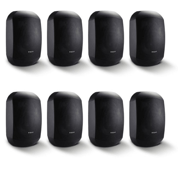 "8 Pack of Apart MASK4CT-BL 4.25"" 100V/16Ohm Two-Way Loudspeakers, Black"