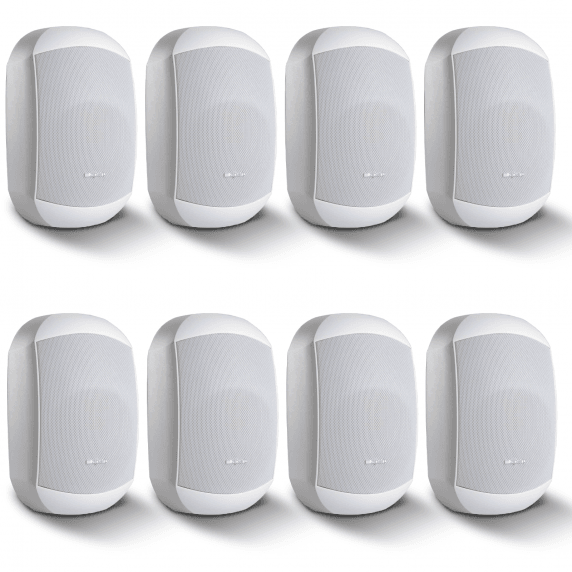 "8 Pack of Apart MASK6CT-W 6.5"" 100V/16Ohm Two-Way Loudspeakers, White"