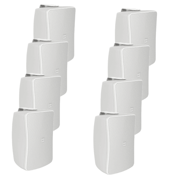 "8 Pack of Inter-M WS50T-WK 5"" Full Range 50W Wall Speakers (White)"
