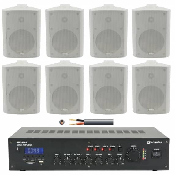 8 Speaker 4 Zone Background Music Sound System (White)