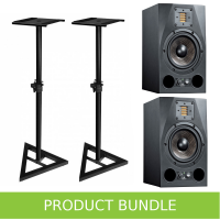 "Adam Audio A7X 7"" Studio Monitors with Speaker Stands Bundle"