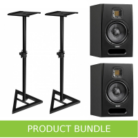 "Adam Audio F5 5.5"" Studio Monitors with Speaker Stands Bundle"