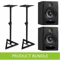 "Adam Audio F7 7"" Studio Monitors with Speaker Stands Bundle"
