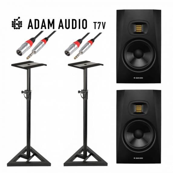 """Adam Audio T7V 7"""" Stands & Cable Bundle"""