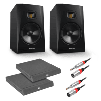 "Adam Audio T8V 8"" Studio Monitors, Isolation Pads & Cable Bundle"