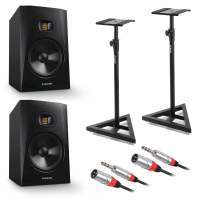 "Adam Audio T8V 8"" Studio Monitors, Stands & Cable Bundle"