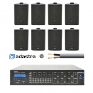 Adastra 6-Zone Background Music Sound System - Black Speakers