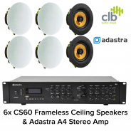 "Adastra A4 Bluetooth Amplifier & 6x 6.5"" Ceiling Speakers"
