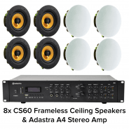 "Adastra A4 Bluetooth Amplifier & 8x 6.5"" Ceiling Speakers"