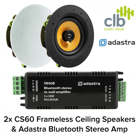Adastra Home Hi-Fi Sound System with Bluetooth - 2x Ceiling Speakers