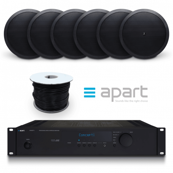 Apart 2 Zone Store Bundle | 2-Zone Mixer Amp with 6x Black Ceiling Speakers