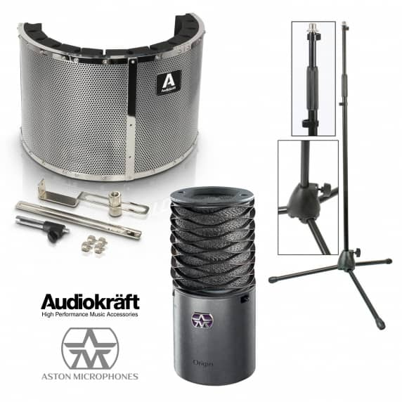 Aston Origin Studio Recording Bundle with Vocal Booth and Stand
