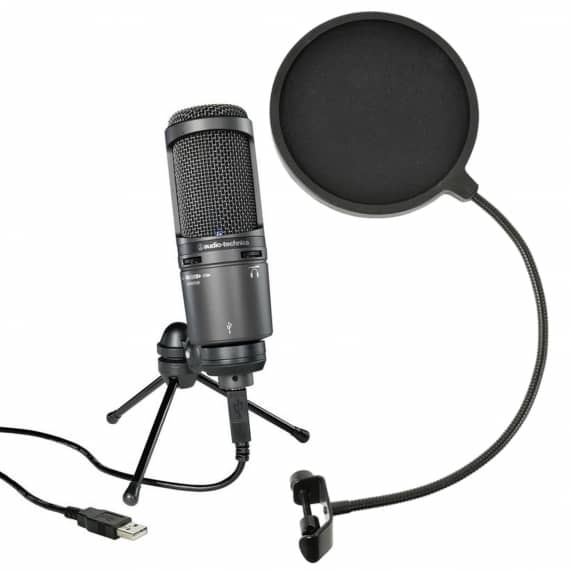 Audio Technica AT2020USB+ Condenser Microphone and Pop Filter Bundle